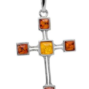 Baltic Amber Cross Pendant in 925 silver