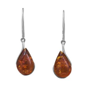 Genuine Baltic Amber Teardrop Earrings handmade