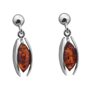 Oval Baltic Amber Sterling Silver Dangle Beauty Stud Earrings