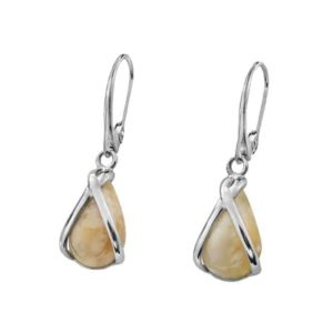 Light Amber Teardrop Earrings in Sterling Silver