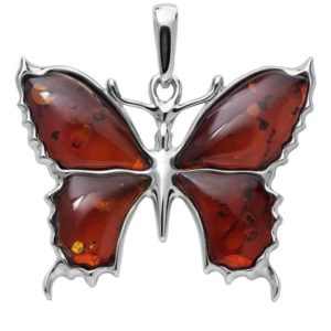 Beautiful Baltic Amber Butterfly Pendant with Sterling Silver