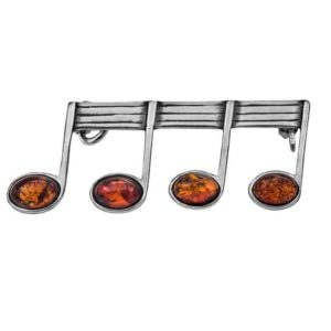 Baltic Amber Music Notes Women's Brooch
