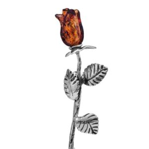 Sterling Silver Rose Brooch with Baltic Amber Bloom