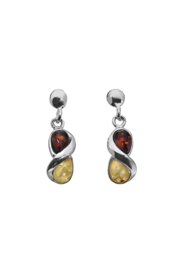 Sophisticated Baltic Amber Earrings in Sterling Silver