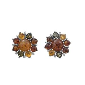 Beautiful Flower Earrings in Multicolored Baltic Amber & Silver
