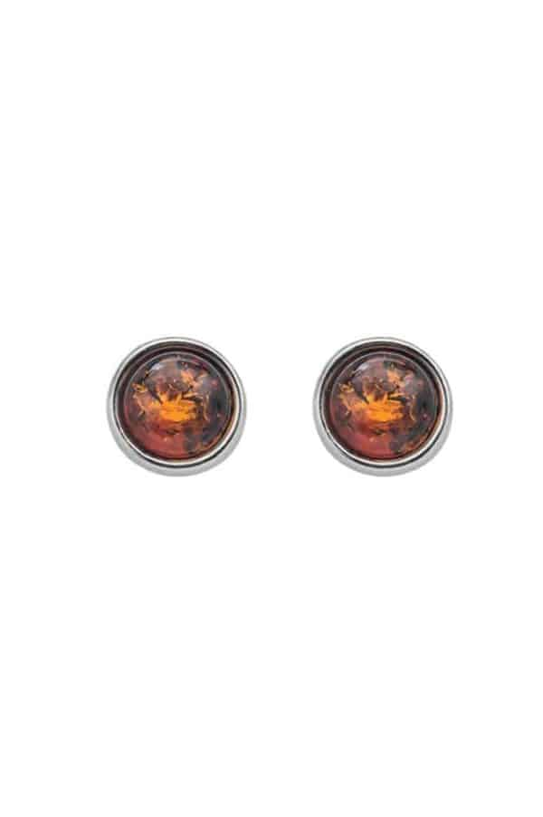 Round Amber and Sterling Silver Earrings for Women